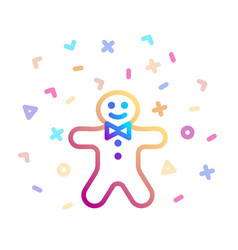 holiday gingerbread man cookie surrounded by vector image