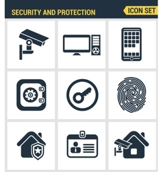 Icons set of premium quality of various security vector image
