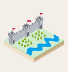 Isometric view of a medieval castle vector