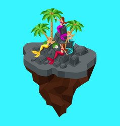 Isometry fairy island a cartoon a girl of mermaids vector
