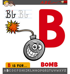 Letter b worksheet with cartoon bomb object vector