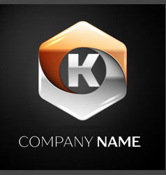 letter k logo symbol in the colorful hexagonal on vector image