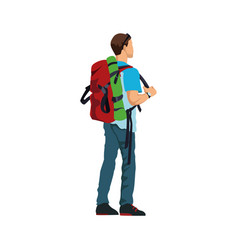 Man with backpack hiking activity image vector