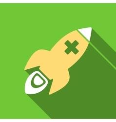 Medical Rocket Flat Long Shadow Square Icon vector
