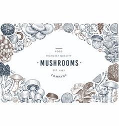 Mushroom design template hand drawn food vector
