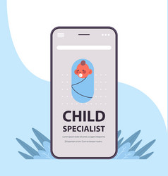 newborn baon smartphone screen child specialist vector image
