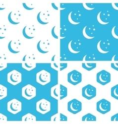 Night moon patterns set vector