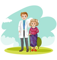 Old lady and doctor in the field vector