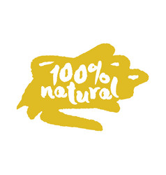 One hundred percent natural label on a scribble vector