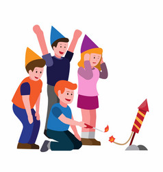 People lighting firework together group friend vector