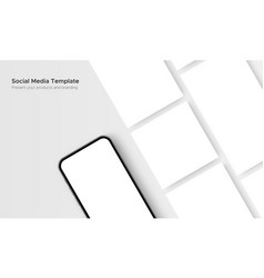phone with blank social media posts template vector image