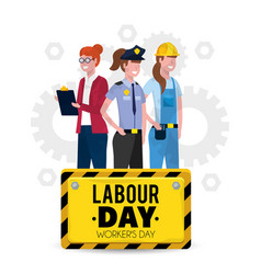 Professional workers with uniform to labour day vector