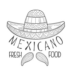 Restaurant mexican fresh food menu promo sign in vector