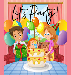 Scene with birthday party with family vector