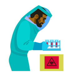 scientist working with bio hazardous substances vector image