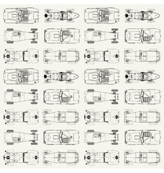 Seamless pattern vintage sports racing cars vector