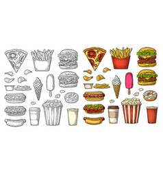 Set fast food coffee hamburger pizza hotdog vector