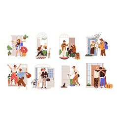 Set happy people leaving or returning home man vector