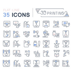 set line icons 3d printing vector image