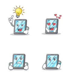 set of tablet character with idea love angry vector image