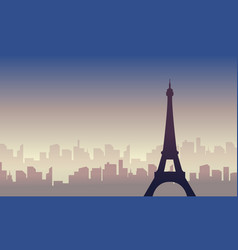 silhouette of city france scenery vector image