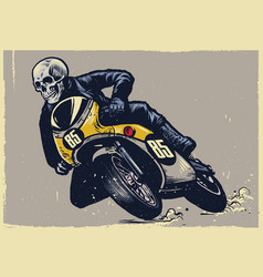 Skull riding classic motorcycle texture is easy vector