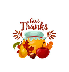 thanksgiving holiday icon of autumn fruit and leaf vector image