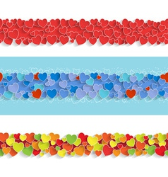Three Horizontal Seamless Strips with Hearts vector image