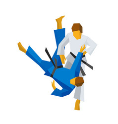 Two judo fighters in traditional blue and white vector