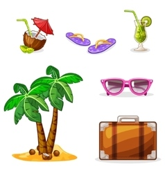 Vacation and travel background Set summer symbols vector image