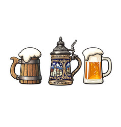 vintage colorful set beer mugs old wooden mug vector image