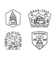 vintage mountain camp badges logos set adventure vector image