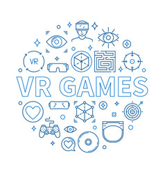 Vr games round in thin line vector