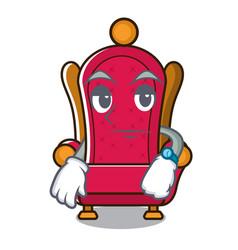 Waiting king throne mascot cartoon vector