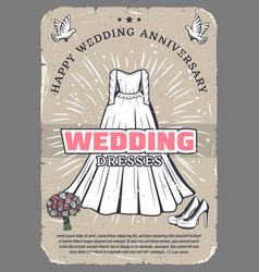 wedding anniversary vintage greeting card template vector image