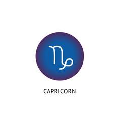 white capricorn zodiac symbol in blue circle icon vector image