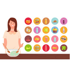 Woman mixing dough in bowl set ingredients vector