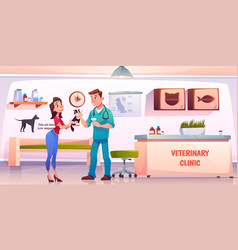 young woman giving cat to veterinarian doctor vector image