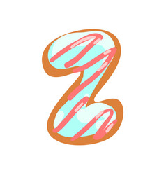 Z letter in the shape of sweet glazed cookie vector