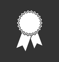 badge with ribbon icon in flat style on black vector image