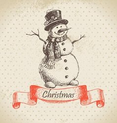 Christmas snowman hand drawn vector image
