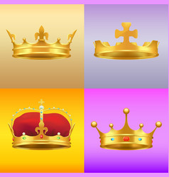 gold kings medieval crowns in several designs set vector image