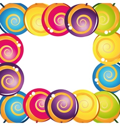 colorful delicious lollipop collection frame vector image vector image
