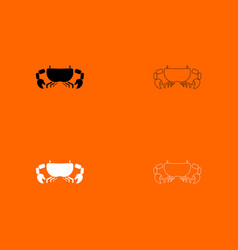 crab black and white set icon vector image vector image