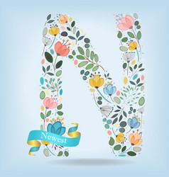 floral letter n with blue ribbon vector image