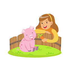happy little girl feeding pink pig with carrot in vector image