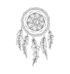 Indian Dream catcher black and white ethnic vector image vector image