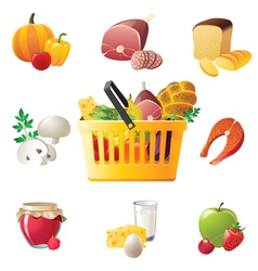shopping basket and highly detailed food icons vector image