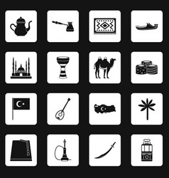 turkey travel icons set squares vector image vector image