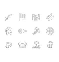 viking attributes flat line icons set vector image
